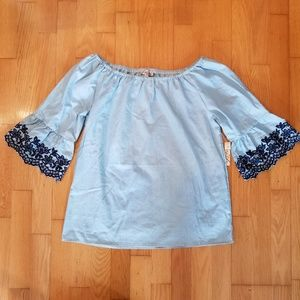 Lavish Blue Scalloped Embroidered Sleeve Smock Top